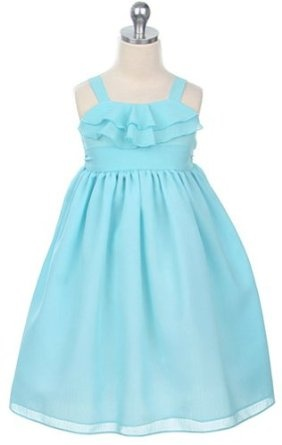 New Ruffle Chiffon Dress ~ sz 2 to 14 Girls ~ Choice of Coral, Yellow or Aqua  $29.99 - $34.99    *IMPORTANT** This style is a specialty item and requires 10 - 14 days before it is available to ship from our store.  New Ruffle Chiffon Dress ~ sz 2 to 14 Girls ~ Choice of Coral, Yellow or Aqua  Empire Waist Chiffon Dress with Ruffles at the Neckline  Gathered Sash Waistband  Back Zippered Closure and Tie Bow for Customized Fit at the Waist