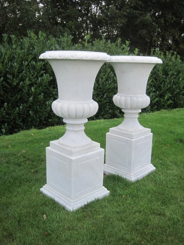 Pair of Marble Urns on  Plinths,pair,marble,urns,plinths,sculpture,statue,stone,antique,for sale, garden antiques,garden,ukaa,uk,for