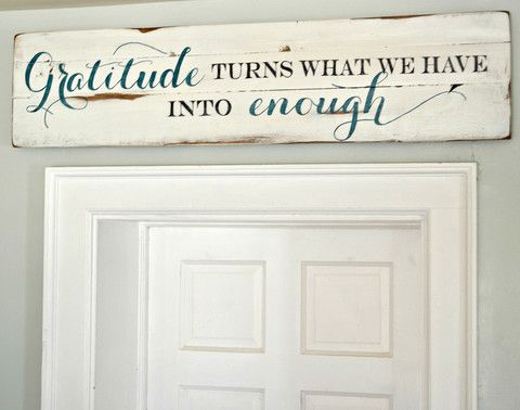 """""""Gratitude"""" Wood Sign {customizable} - Aimee Weaver Designs (www.aimeeweaverdesigns.com) customized to say """"God bless this home and all who enter"""" in brown tones with white background."""