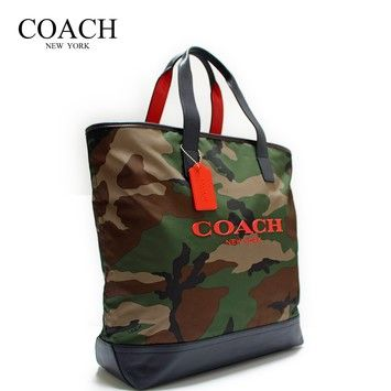 Coach Tote in Orange and Camoflage