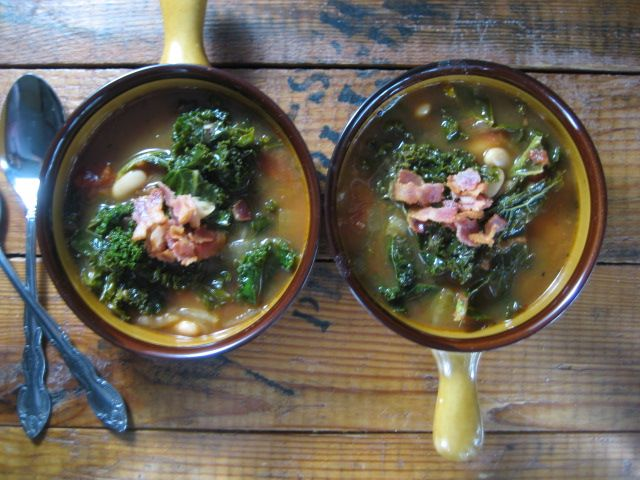 Yum! Kale and Cannellini Bean Soup with Bacon and Parmesean by ...