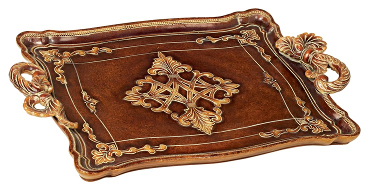 Traditional Serving Tray with Rope Style Handles -