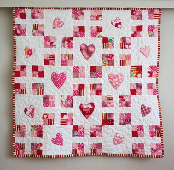 Baby Quilt Made To Order Pink Patchwork Quilt With Hearts New Baby Blanket Girls Crib Quilt Baby Nursery Bedding Baby Shower Gift In 2021 Crib Quilt Girl Baby Girl Quilts Quilts
