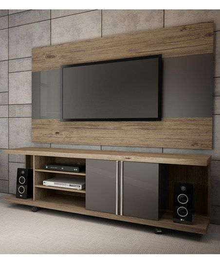 Manhattan Comfort Nature & Metallic Onyx Carnegie TV Stand | zulily