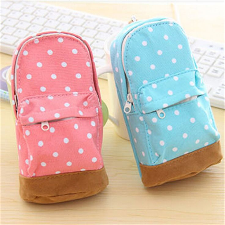 Cute Korea stationery big capacity pencil case Dot pattern wallet school supplies bag for kids child Free shipping 685