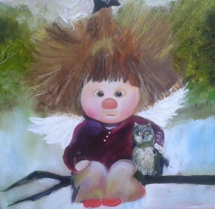 Девочка с совой - Мастерская красоты Татьяны Коник #Харьков #picture #art #decor #present #gift #beauty #angel #baby