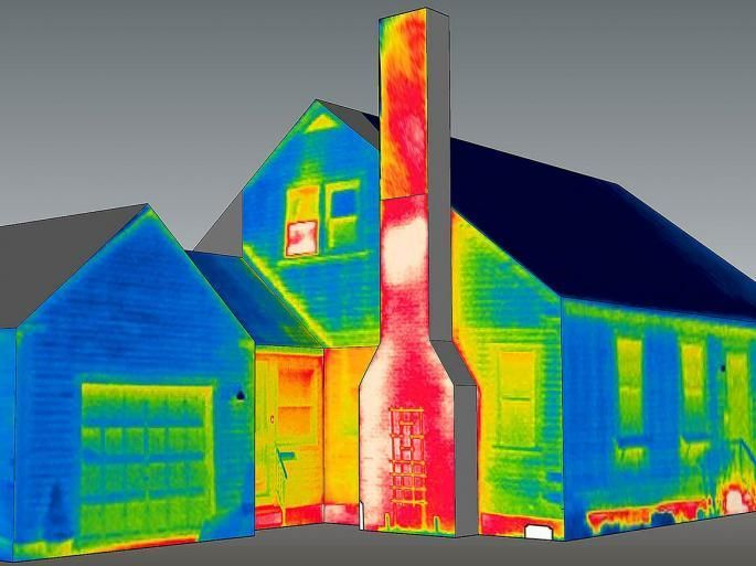 Hot House: Combining Thermography with 3D Modeling to Visualize Heat Loss:  Infrared thermography is often used to detect heat-loss in a building's exterior walls... By mapping thermography images onto three-dimensional models of buildings as depicted in the image above, Alexander Schreyer and colleagues (Building and Construction Technology Program and Architecture and Design) can interactively explore a building's thermal performance and energy efficiency.