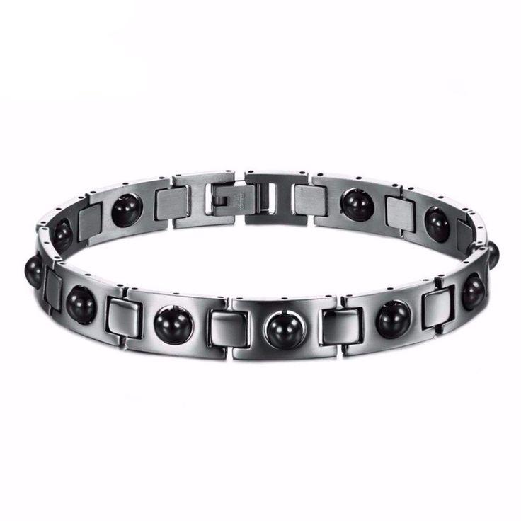 Titanium Steel Bracelet With Black Beads