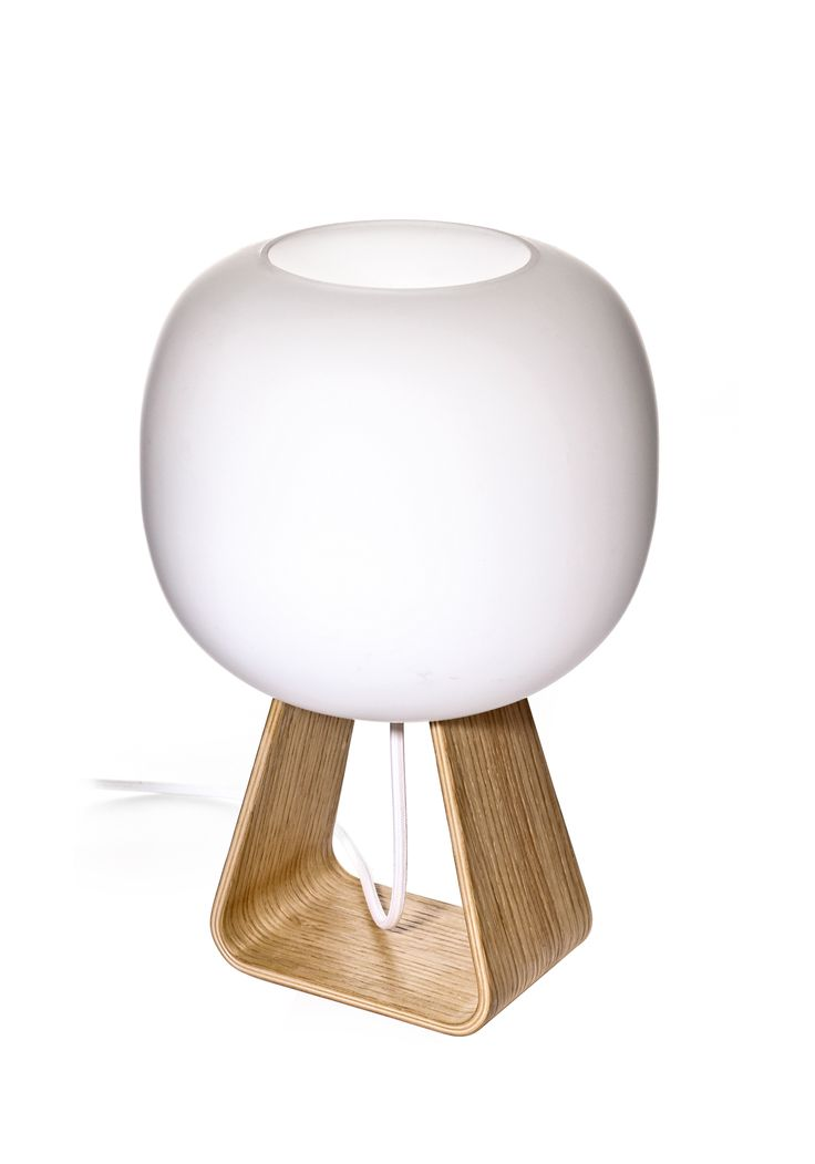 TOAD Table Lamp, OAK Handblown glass diffuser. Base made of bended oak plywood.