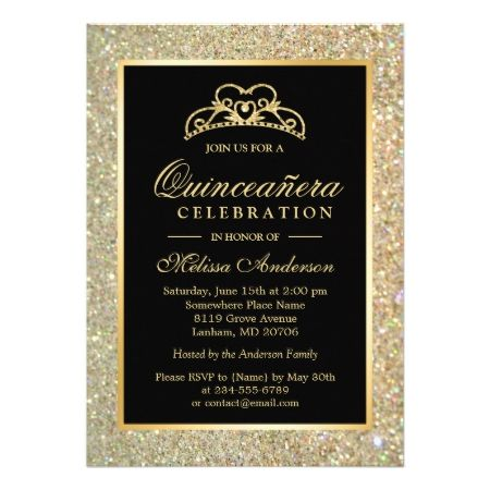 Quinceanera 15th Birthday Gold Glitter Sparkles Card - click to get yours right now!