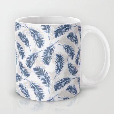 My blue feathers Mug by Juliagrifol Designs #design #blue #feathers #patterns #design #mug #society6