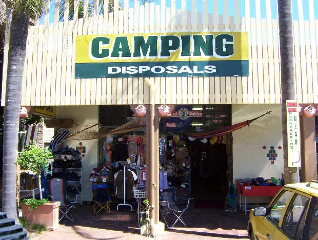 Byron Bay Camping & Disposals.  For all your fishing needs, gumboots for festivals, raincoats, extra bags for shopping, straps for suitcases, stuff for sun protection, hats and more...