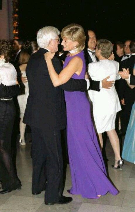 June 5, 1996:  Diana, Princess of Wales dancing with Phil Donohue in Chicago at a Gala Dinner at The Field Museum of Natural History.
