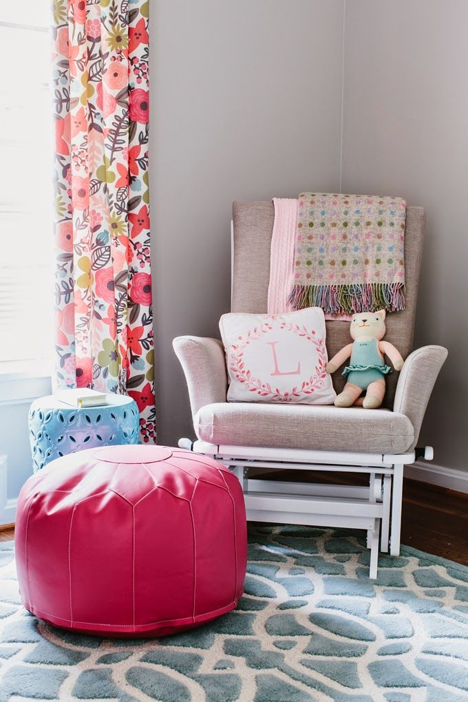 I LOVE the fabric of these curtains - via House of Turquiose & Colordrunk Designs