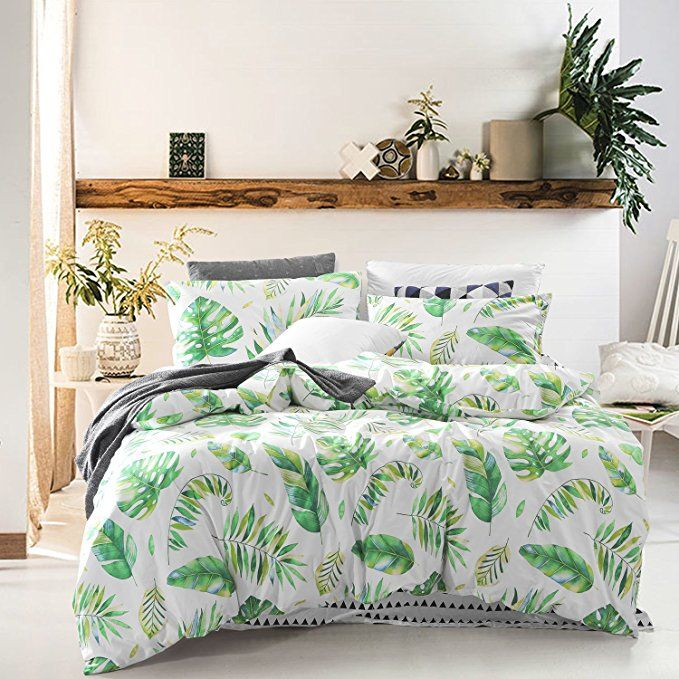 Wake In Cloud Tree Leaves Duvet Cover Set 100 Cotton Bedding Green Monstera Plant And Banana Duvet Cover Sets Luxury Bedding Master Bedroom Guest Room Bed