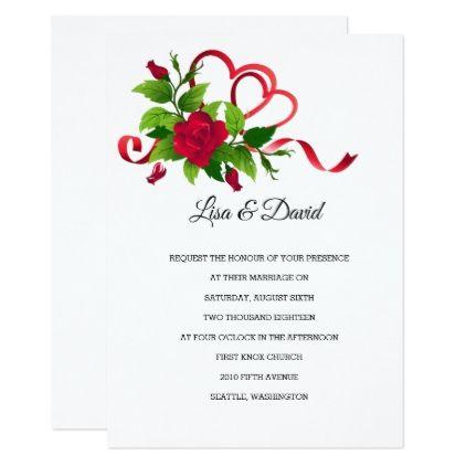 Wedding Invitation-Red Roses Card - invitations custom unique diy personalize occasions