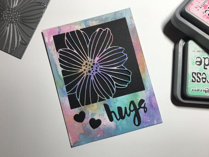 Oxide ink blending on watercolor paper, #simonsaysstamp cosmo flower frame die #inkblending #oxideinks #diecuts
