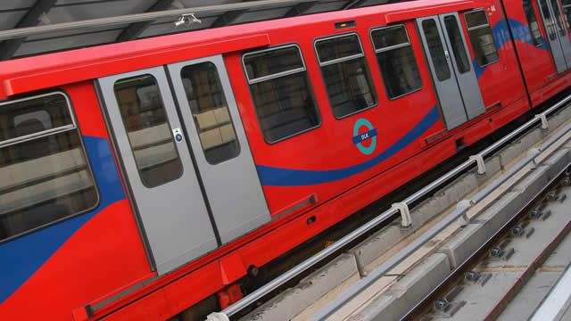 A DLR train at a station © Transport for London
