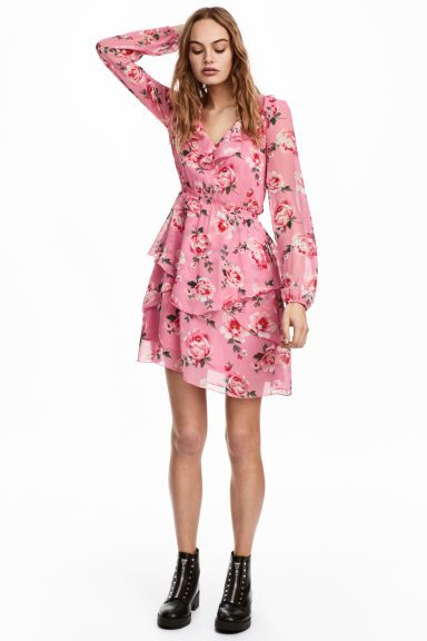 Chiffon dress with flounces - Pink/Floral - Ladies | H&M GB 1