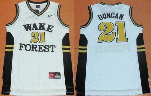 Men's West Forsyth University #21 Tim Duncan White College Basketball Swingman Jersey