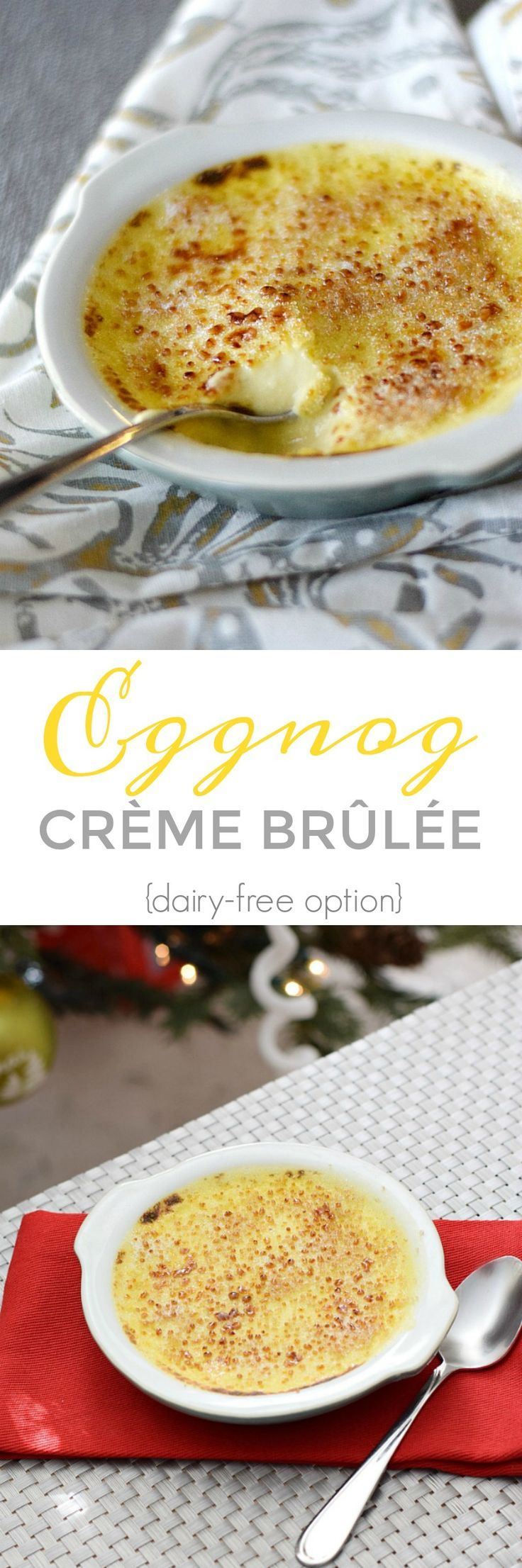 This rich and creamy Eggnog Creme Brulee is the perfect dessert during the holidays, and so much easier to make than you would expect. {with dairy-free option} | cookingwithcurls.com