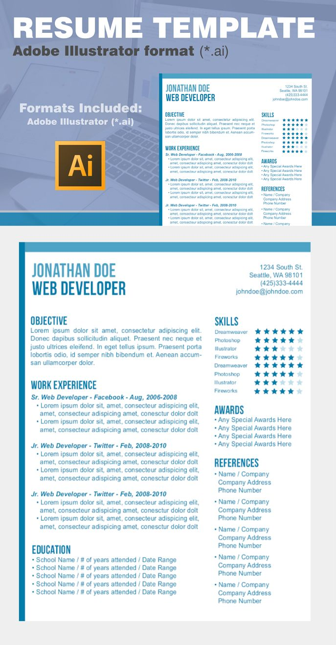 Resume Template Blue Minimal Layout Includes Adobe