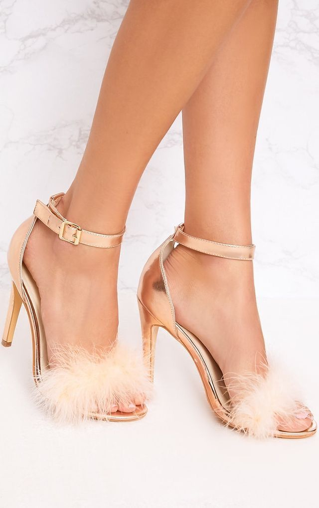 1058bc8da7c Girl look mega dreamy in these fluffy strap heels. Featuring ankle strap  and buckle fastening