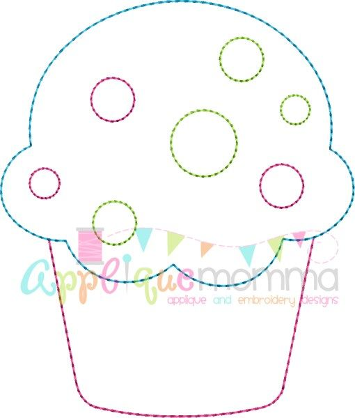 Cupcake Vintage Embroidery Design
