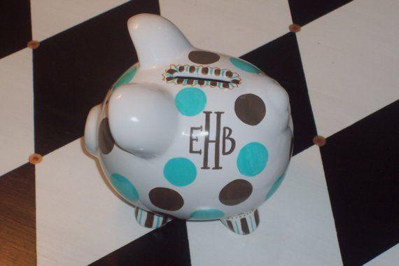 Lotsa Dots Hand Painted Personalized Piggy Bank by TemperTantrum, $14.00