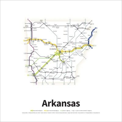 A Simplified Road Map Of Every Interstate Highway And U S Route In The State Of Arkansas