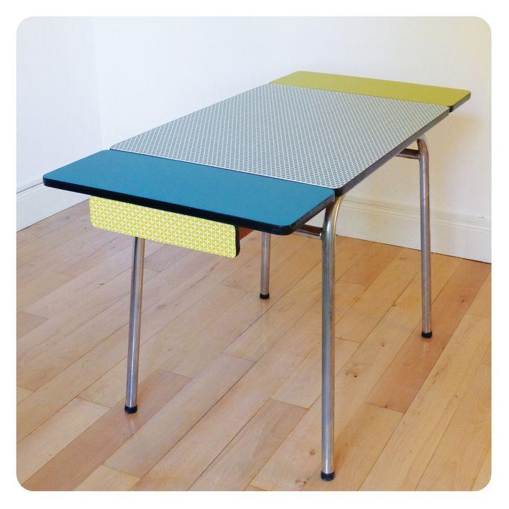 table formica, mobilier vintage revisité tout en couleur : Meubles et rangements par d-une-certaine-facon