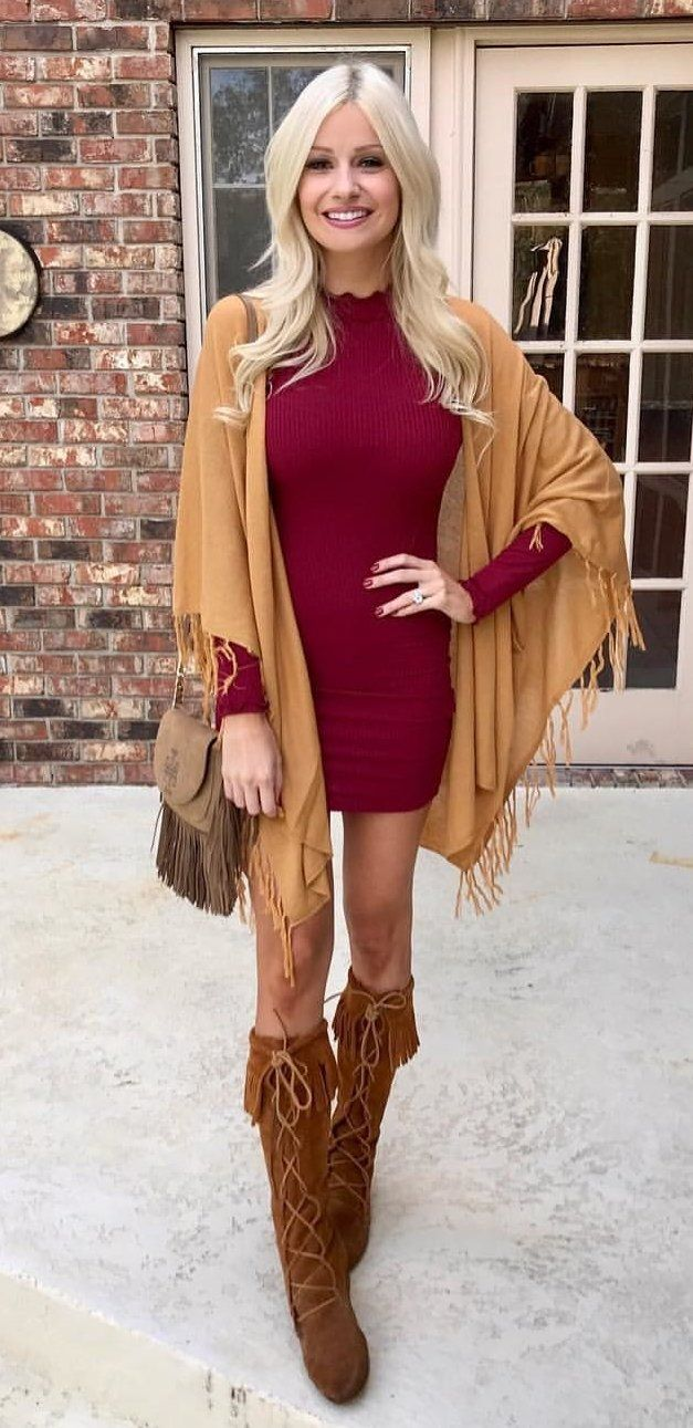 #winter #outfits women's red long-sleeved dress, brown tassel scarf and brown fringe boots. Click To Shop This Look.