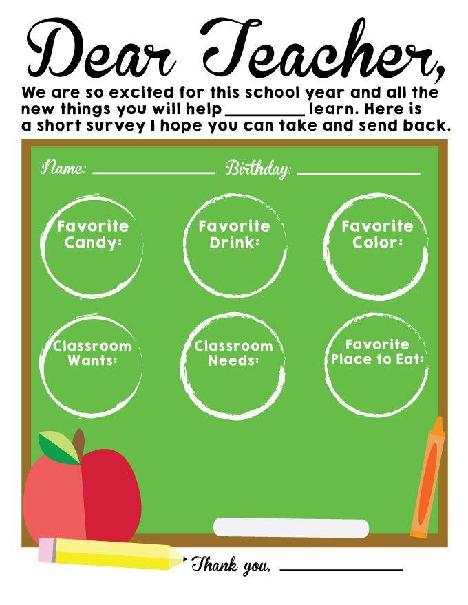 Printable Back to School Teacher Survey