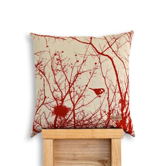 Winter Nest Cushion Cover in Deep Red. by TheWiggleTree on Etsy