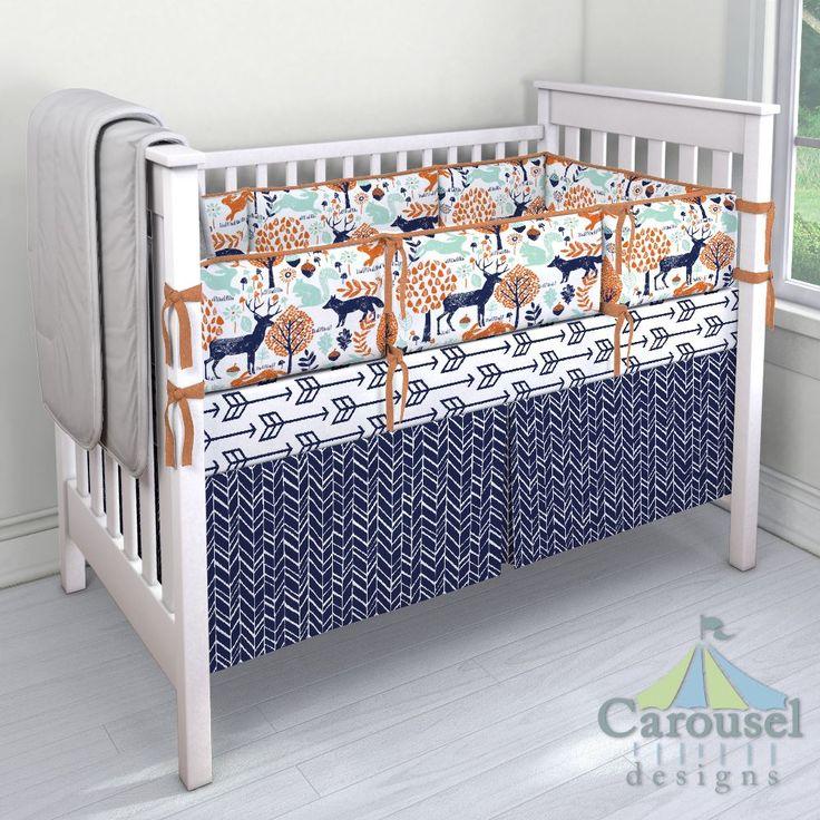 Crib Bedding In Windsor Navy Herringbone And Orange Woodland Animals Fox Heather