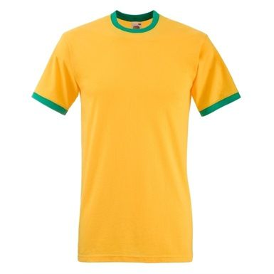 Available in 8 stand-out colour schemes reminiscent of some of the worlds top footballing nations, the Fruit Of The Loom Ringer T-Shirt is a 100% cotton garment. It's contrasting colours accentuate the sleeves and neck for a stylish look. These tops are easily embellished with a company logo or your choice of words.