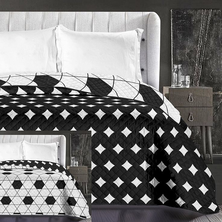 Biely prehoz na posteľ s geometrickými vzormi