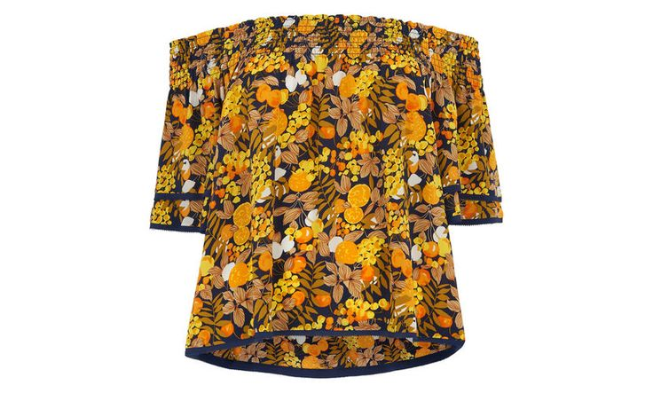"<p>This sunny yellow Bardot top is bound to become a staple of your summer wardrobe. The silk design features a Bardot neckline, a loose fit and a '70s inspired floral print. Pair with high waisted trousers and slides for contemporary cool.<p> <br> ·Citrus print<br> ·Bardot neckline<br> ·Length (top edge to hem) 43cm<br> <br /> Louisa is 5'9.5""/177cm and wears a UK size 8"