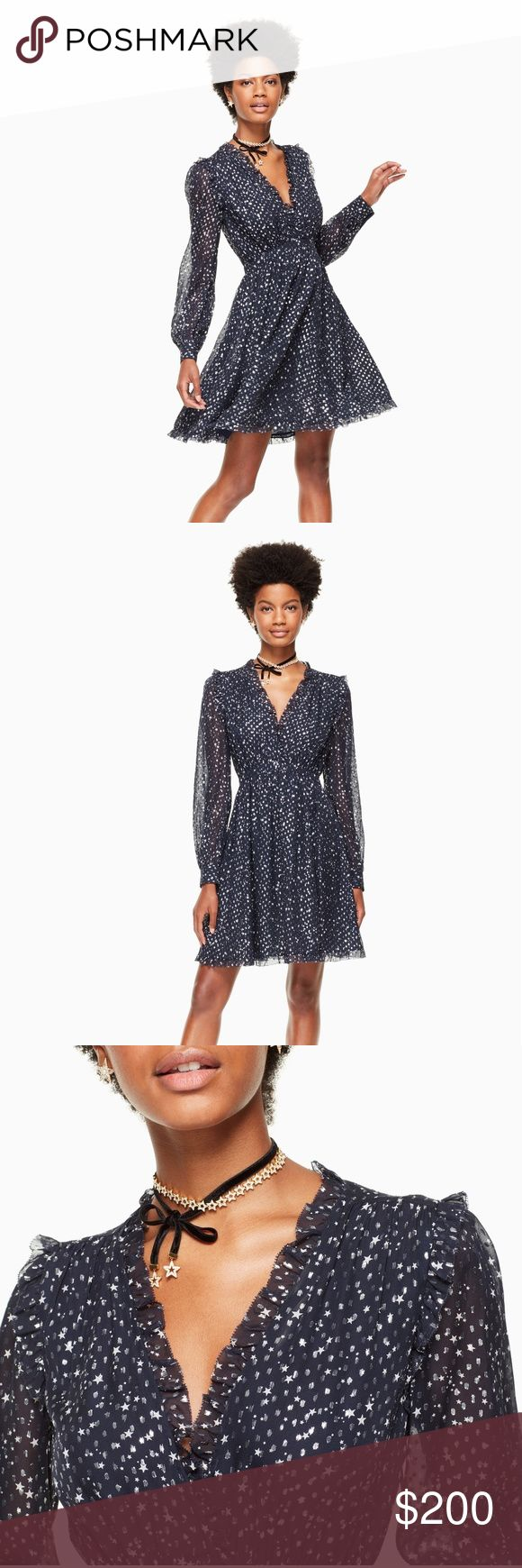 "kate spade night sky lurex dot mini dress $428 Still selling on kate spade for full price!  description  make a wish. this gathered dress comes in a gorgeous, starry print for a new take on classic polka dots, inspired by nature's very own fireworks. woven with metallic threads, the fabric glints under any lighting for an eye-catching 3D effect.   FEATURES  100% silk  lining: 100% polyester  long blouson sleeves  mini length  full gathered skirt  FIT  fit and flare  size 4 measures 36.5""…"