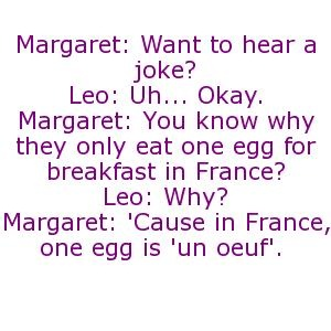 'cause in france, one egg is un oeuf -  leo mcgarry -  margaret hooper -  the west wing -  lies damn lies and statistics