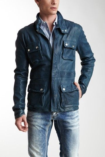 Emporio Armani Leather Jacket with Flap Pockets in Medium Blue