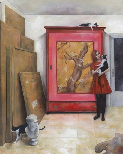 "Check out my art piece ""Armario Rojo & Chica con Gato"" on crated.com"