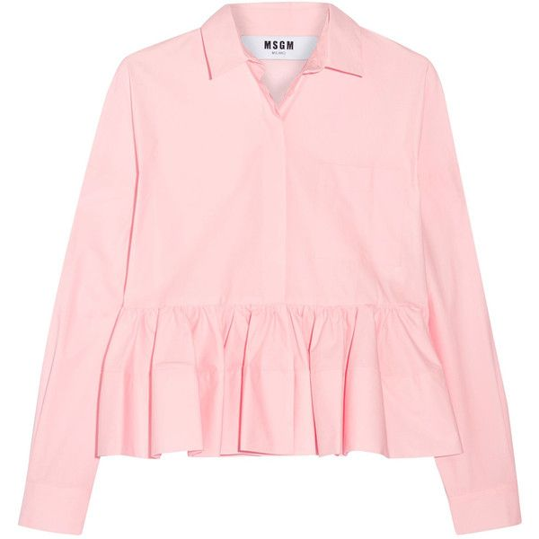 MSGM Stretch cotton-blend poplin peplum shirt (€395) ❤ liked on Polyvore featuring tops, pleated shirt, pleated top, pastel shirts, pastel pink top and pastel tops