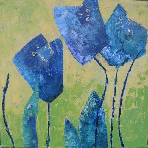 wepaint.dk kursus blå blomst elev maleri!