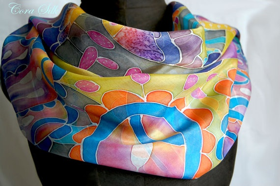 Hand Painted Silk Scarf. Purple Silk Scarf by Bettineum on Etsy, $70.00