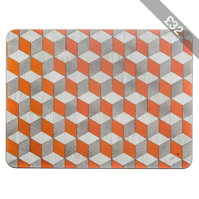 orange Place Mats orange white grey placemats Melamine table mat tablemat Heat Resistant 140 Birthday Gift Anniversary gift E Inder Designs