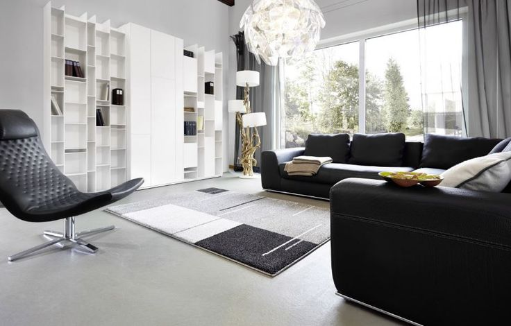Stijlvol modern tapijt in mooie grijs-zwart combinatie zorgt voor luxe ...