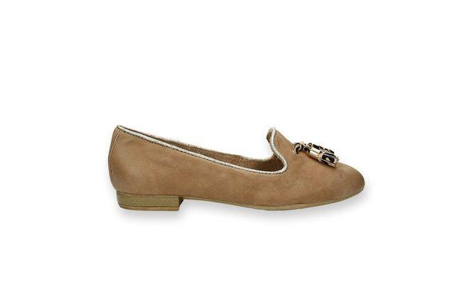 Mooie schoenen op bent.be - Dames/Poelman/bruine loafer met versiering