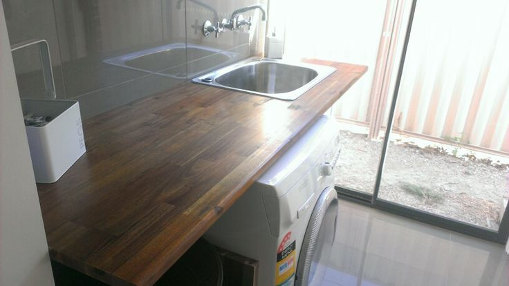 New laundry bench and sink. Both bought from BUNNINGS cut to size by ...
