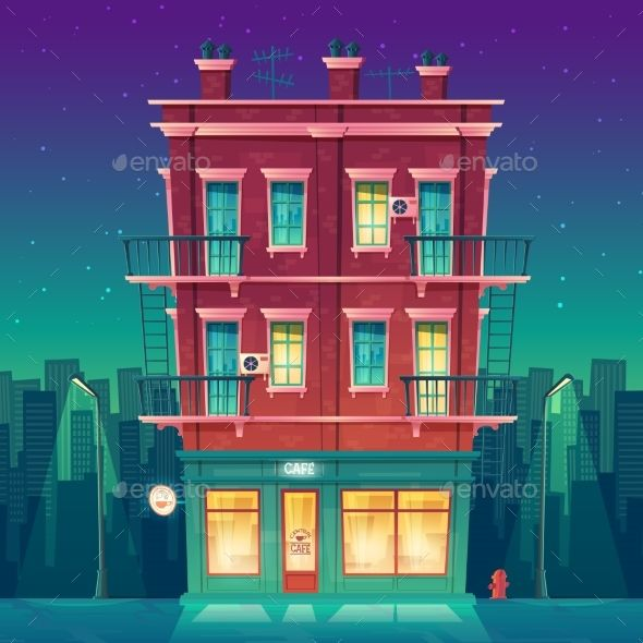 Vector Round the clock Cafe in Residential Multi Building concept Building illustration House illustration